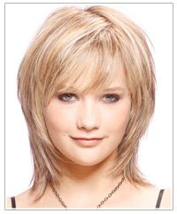 medium length razor layers | medium length hairstyle uses soft bangs and a combination of medium ...