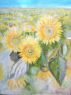 2014-04 Sonnenblumenfeld gemalt und signiert von Heinz Schmitz Speyer, Gouache, Unikat, Bildgröße 36 x 48 cm.