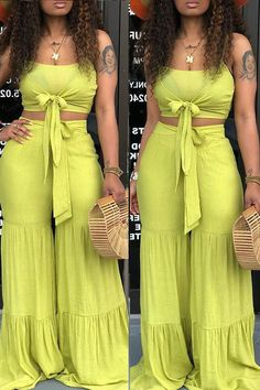 Sexy Sling Sleeveless Yellow Two-Piece Set Classy Dress, Classy Outfits, Casual Outfits, Cute Outfits, Fashion Outfits, Summer Outfits, Two Piece Jumpsuit, Two Piece Pants Set, Two Piece Outfit