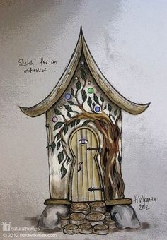 Most homes start their life as a sketch on something or other. If you are an artist like Heidi Vilkman then you have a bit of an advantage over most of us. This is the outhouse Heidi wants to build in the summer of 2013 at the back of her earthbag, cob and straw bale cottage, with wood from the forest and the leftover straw bales from last summer's build. More at www.naturalhomes.org/timeline.htm