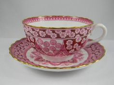 Cranberry Pink Kaleidoscope Lace Red Transferware Shabby Chic Gilt Trim Snowflake Teacup & Saucer Christmas Cup Spode Copeland