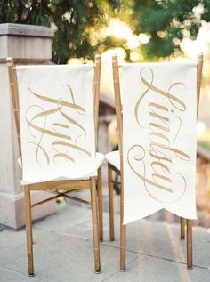 chair banners with the newlyweds' names, photo by Erich McVey http://ruffledblog.com/sierra-madre-wedding #weddingideas #reception