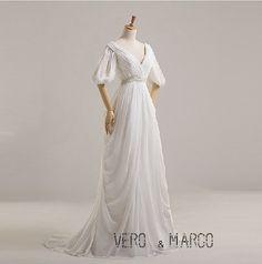 Greek godness ruched half sleeves deep V-neckline chiffon satin beach Plus size wedding dress Plus size Maternity dress sweep train ET171 on Etsy, $239.00