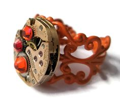 Jewelry Steampunk Ring Vintage Watch Ring by FruttiTuttiBeadCandy, £25.00