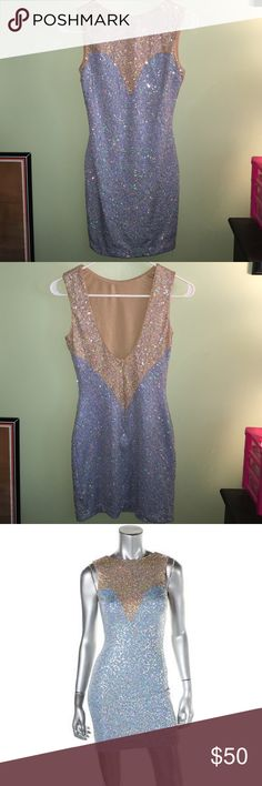 Dress the population dress ⭐️PRICE IS FINAL⭐️ Gorgeous, baby blue sequined dress! ⭐️stretchy fabric⭐️ NWOT⭐️ feel free to ask any questions! All offers will be ignored! dress the population Dresses Mini