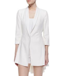 Alice + Olivia Selene Ruffle-Back Long Blazer & Butterfly Poplin Shorts White Tux Jacket, Latest Fashion For Women, Womens Fashion, Long Blazer, Alice Olivia, Neiman Marcus, Fashion Outfits, Clothes For Women, My Style