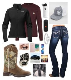 just another day 1.14.18 by mud-lovin-redneck on Polyvore featuring polyvore fashion style The North Face Miss Me Justin Boots Ariat Oakley Hydro Flask JBL Carhartt clothing