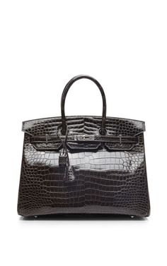 Heritage Auctions Special Collection Hermes 35Cm Graphite & Ardoise Shiny Porosus Horseshoe Birkin