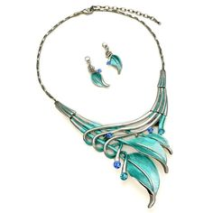 "PammyJ Silvertone Aqua Blue Leaf Statement Necklace and Earrings Set, 16"" + 3"" Ext."