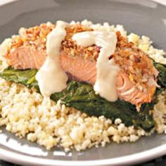 """Company-Ready Crusted Salmon Recipe -Dietitians suggest two servings of fish a week. Salmon is one of the highest in those omega-3 fatty acids that help to prevent heart disease. """"My husband had high cholesterol so I created this heart-healthy recipe. Now I serve it to guests all the time…even fish-haters rave and ask for the recipe!"""" Susan Robenson - Hot Springs, Arkansas"""