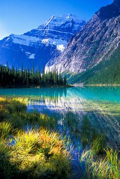 Beautiful morning at Mount Edith Cavell and Cavell Lake, Jasper National Park, Alberta, Canada
