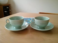 1930s beryl ware  t cups very very rare.  This is before. The iconic beryl ware  was set up. The design was changes  what we know to day  hard to find  I  have a set of three would like six. If any body has one let me know.