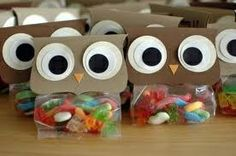 owl gift bags with gummy worms maybe for bonnie with a book and stuff
