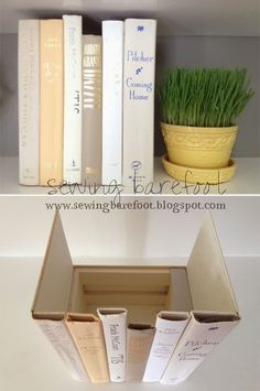 Craft of the Week: Concealed Storage in Upcycled Books  (Could also weight a narrower section and use as a bookend.  PL)