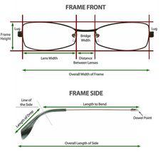 Good to know when ordering glasses online: How to measure glasses frame, Frame Measurement Guide Glasses Frames, Eye Glasses, Inexpensive Eyeglasses, Picture Frame Sizes, Wooden Sunglasses, Designer Eyeglasses, Skull Design, Gloria Vanderbilt, Drawing Techniques
