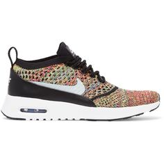 Nike Air Max Thea Flyknit sneakers ($150) ❤ liked on Polyvore featuring shoes, sneakers, green, leather sneakers, nike, flyknit sneakers, colorful sneakers and nike shoes