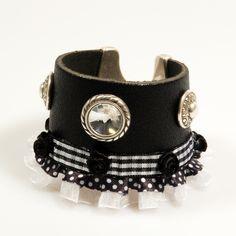 Cuero brazalete pulsera negro negro volante por CatenaSieraden