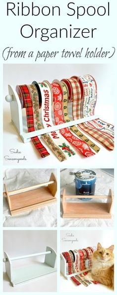 Spools of craft and gift wrap ribbon can easily get out of hand. But a thrift store paper towel holder (especially one with a feeder bar) works as an awesome way to hold, store, and organize ribbon spools! Easy craft room organization with ribbon at your fingertips, keeping it organized and ready to cut for projects and wrapping presents! Easy thrift store DIY repurpose / upcycle project from #SadieSeasongoods / www.sadieseasongoods.com