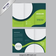 Green brochure template with circles Free Vector