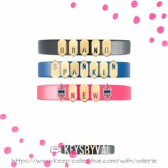 Introducing the Brand New Geo Cut Out Letters!  Keep of the Day: Brand Spankin' New Stack  Create this Look: Keepers - Single Leather Band in Black/Saddle, Cobalt/Kelly Green, & Pop Pink/Natural Gold; Keys - NEW Geo Cut Out Letters in Brushed Gold & Turning Points in Gold  #brandnew #keepcollective #kotd