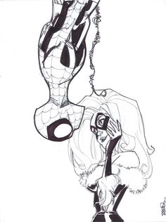 Spider-Man & Black Cat by Humberto Ramos Spiderman Black Cat, Spiderman Girl, Black Cat Marvel, Black And White Comics, Amazing Spiderman, Spiderman Drawing, Comic Book Artists, Comic Book Characters, Comic Artist