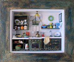 Cocina con miniaturas, Hecha a pedido. http://cruzatartesaniacolor.blogspot.com/