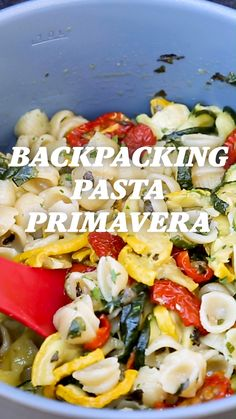 Bring on the backpacking with this healthy and filling veggie-packed dish. Quick-cooking pasta, dehydrated zucchini, yellow squash, cherry tomatoes, plus some green flavor enhancers: flat-leaf parsley and capers. Dehydrated Backpacking Meals, Best Backpacking Food, Hiking Food, Camping Foods, Ultralight Backpacking, Healthy Camping Meals, Camping Desserts, Camping Recipes, Hiking Gear