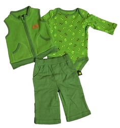 John Deere 3 Piece Fleece Vest Layette Set Tractorup.com John Deere Baby, Baby Layette, Fleece Vest, My Boys, 3 Piece, Onesies, Girl Outfits, Baby Boy, Rompers
