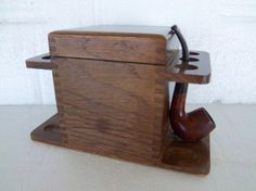 Vintage Wooden Tobacco/Pipe Stand by CharsVintageShop on Etsy, $48.00