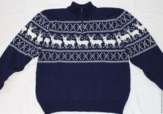 Купить Свитер на молнии с оленями - тёмно-синий, орнамент, с оленями, олени, свитер вязаный