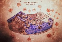 Watercolor and sanguine reproduction of ptolemaic map of the world