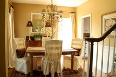 Benjamin Moore Decatur Buff: Savvy Southern Style: A Change of Color Yellow Paint Colors, Yellow Walls, Yellow Painting, Wall Colors, Bright Colors, Dining Room Paint, Dining Room Colors, Dining Rooms, Master Bedroom Redo