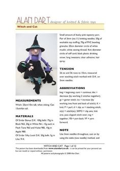 Witch and Cat by Alan Dart Knitting For Kids, Knitting Projects, Hand Knitting, Knitting Toys, Doll Patterns, Knitting Patterns, Alan Dart, Room On The Broom, Witch Cat
