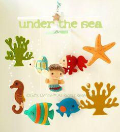 Musical Baby Mobile with Mermaid Under the Sea Theme (Artist Choice Color) -  Crib Nursery Mobile for Modern Nautical Nursery Decor