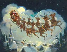"""Santa and Reindeer by Susan Comish 28""""x22"""" Art Print Poster"""