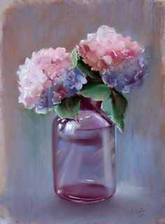 Работа ученика 5 *I couldn't get the page to come through to note the artist... hydrangeas in soft pastel.