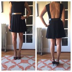 NWOT backless black dress w/belt Sexy dress great for the spring/summer!  Purchased from a boutique for ~$100. Caribbean Queen Dresses Backless