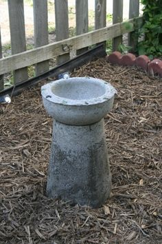 Make a Concrete Bird Bath (use household items as molds)  would embellish a little more