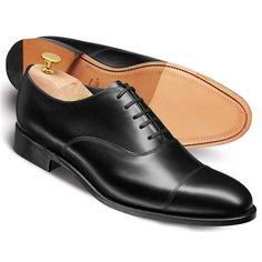 Black Heathcote calf toe cap Oxford shoes