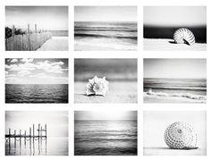 Black and White Beach Photo Set, 9 Nautical Photographs, grey gray coastal prints, seascape photography, sea landscapes seashore wall art