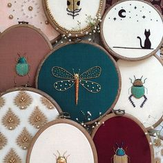 Assemblage (n.) a group of things gathered or collected. . . A collection of Goldwork beetles, a dragonfly, Goldwork feathers and embellished brocade fabrics now available on my etsy #TheOldeSewingRoom