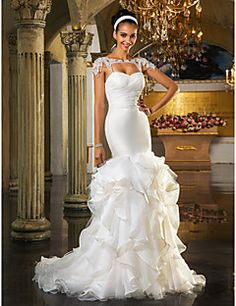 Wedding Dress Fit and Flare Sweep Brush Train Tulle and Orga... – USD $ 199.99