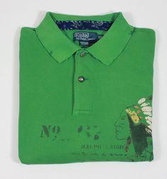 Polo Ralph Lauren 3XB Indian Chief head distressed design shirt green nwt XXXBIg #PoloRalphLauren #PoloRugby