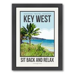 """East Urban Home Travel Poster Key West Framed by Brooke Witt Graphic Art Size: 26.5"""" H x 20.5"""" W x 1.5"""" D"""
