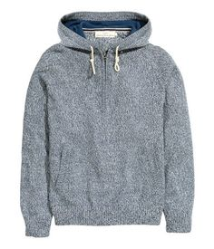 Fine-knit sweater in 100% cotton melange with a lined hood. Zip at top, long raglan sleeves, and front pockets. Ribbed cuffs and hem. | H&M For Men