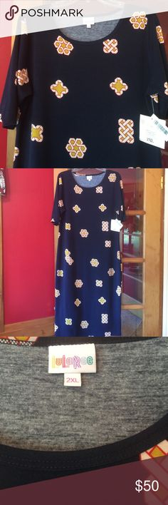 🛍JUST IN- 2XL LuLaRoe Dress 🌟This dress has never been worn except to try it on. In my opinion, this dress fits more like an XL instead of a 2XL. Length: 46 inches; Bust: 22. NWT 🤗 LuLaRoe Dresses Midi