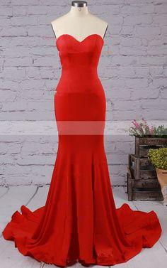 Red Sleeveless Trumpet Mermaid Ruffles Satin Sweetheart Sweep Train Strapless Open Back Long Prom Dress