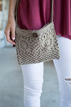 Mocha crochet cross body purse with button loop closure, we adore this purse for summer!