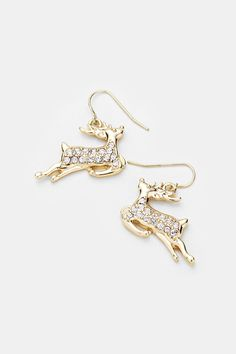 Reindeer earrings gold jewelry