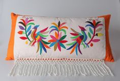 Items similar to Handcrafted pillow combines finely designed embroidered rebozo wiith rich colorful canvas. on Etsy Embroidery Needles, Crewel Embroidery, Embroidery Patterns, Mexican Embroidery, Fabric Painting, Hobbies And Crafts, Cross Stitching, Needlework, Tapestry